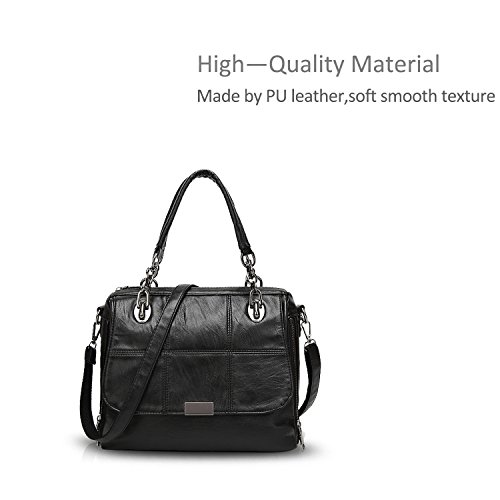 Top amp;DORIS Tote Durable Crossbody Leather PU NICOLE Green Black Waterproof Handle Handbag Women Shoulder Bag Big Satchel Purse d4Iww5q