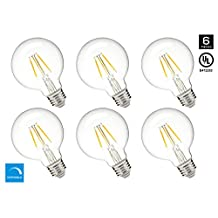 Hyperikon G25 LED Vintage Filament Bulb, 5W (40W Equivalent), 480 lumen, 2300K (Amber Glow), 340° Omnidirectional, Medium Base (E26), IC Driver, CRI 80+, 120v, Dimmable, UL-Listed - (Pack of 6)