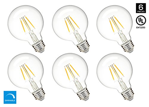 Gold 500 Series (Hyperikon G25 LED Vintage Filament Bulb, Dimmable, 5W (40W Equivalent), 500 lumen, 2700K (Warm White), Medium Base (E26), CRI 80+, UL-Listed - (Pack of 6))