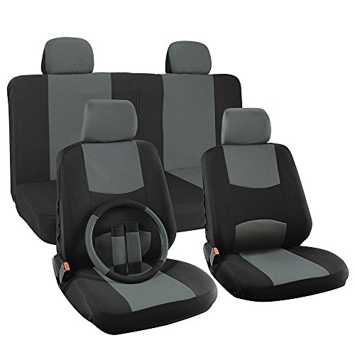 OxGord H Stripe 17-Piece Seat Covers Set with Steering Wheel Cover for Car, Truck, Suv or Van