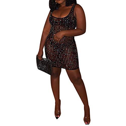 JiherBeauty Womens Sexy Sequins Bodycon Dress Sleeveless Mesh See Through Mini Party Dress Clubwear Black