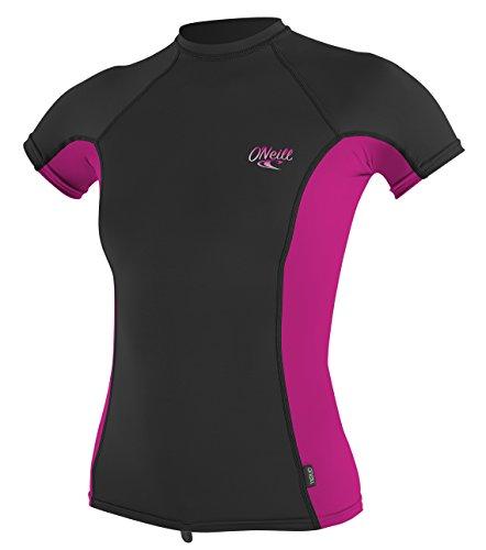 O'Neill Women's Premium Skins UPF 50+ Short Sleeve Rash Guard, Black/Berry, Medium