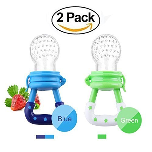 Hilai Fresh Food Feeder Pacifierbaby fruits Mesh Feeder Teething jouets Pouches silicone pour enfants en bas âge (2 Pack)
