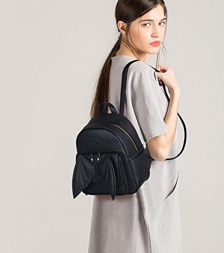 cuir dos original dos a a dos en noir Sac femme PU Design avec dos sac Sac femme Bat Coofit a a Petit ville Sac Mini femme Black petit Ailes qPpntx8