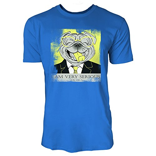 SINUS ART ® Lachender Hund mit Brille und Anzug – I Am Very Serious Herren T-Shirts in Blau Fun Shirt mit tollen Aufdruck