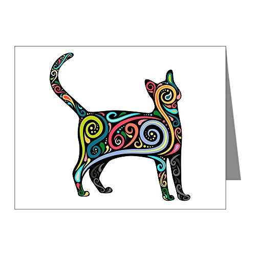 Note Cards (10 Pack) Flourished Kitten Kitty Cat