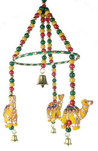 Decorated Camel Mobile with Wood Beads and Brass Bells ()