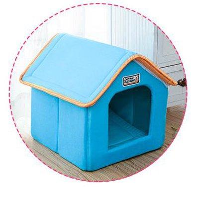 bluee 61cmx47cmx45cm bluee 61cmx47cmx45cm Cookisn Pet House Foldable Bed with Mat Soft Winter Leopard Dog Puppy Sofa Cushion House Kennel Nest Dog Cat Bed for Small Medium Dogs bluee 61cmx47cmx45cm