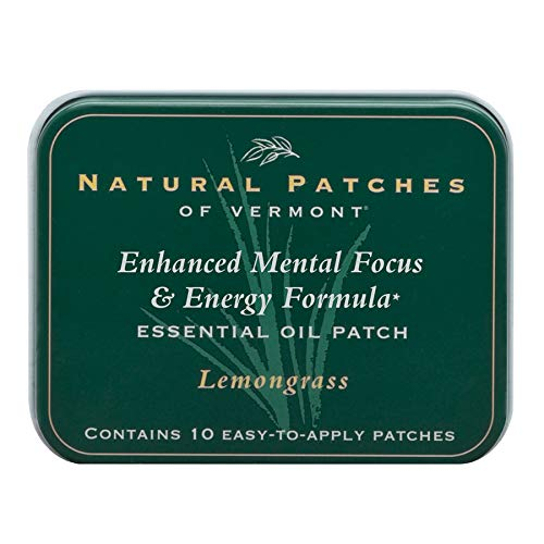 Natural Patches Of Vermont Lemongrass Mental Focus & Energy Essential Oil Body Patches, 10-Count Tin ()
