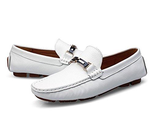 SK Studio Herren Fahren Schuhe Mokassin Boat Bootschuhe Männer Freizeit Atmungsaktiv Slipper Loafers Halbschuhe Weiß