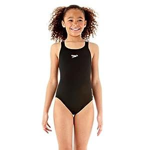 Speedo Mädchen Badeanzug Essential Endurance Plus Medalist, schwarz, 152,...