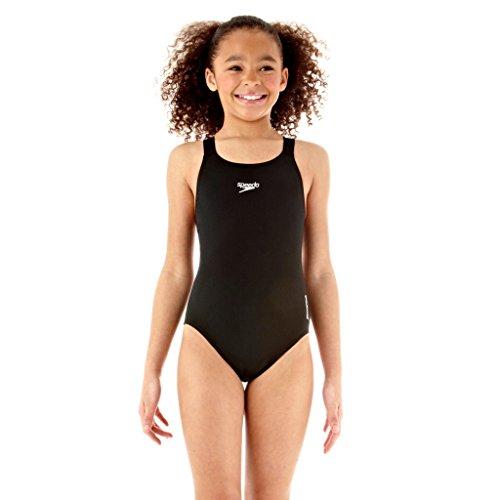Speedo Mädchen Badeanzug Essential Endurance Plus Medalist, schwarz, 152, 8-00728000130