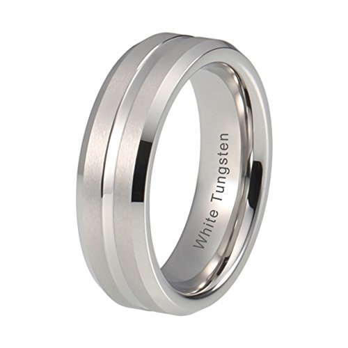 - iTungsten 6mm Mens Womens Wedding Bands White Tungsten Carbide Rings Platinum Plated Matte Finish Beveled Edges Comfort Fit