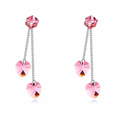 Jewistic Crystal Light Rose Romantic Rhodium-Plated Pierced Earrings Made with Swarovski Elements 7E70035 Swarovski Light Rose