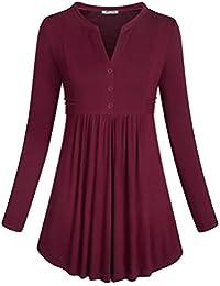 Women's Long Sleeve Mandarin Collar Shirt Pleated Button...