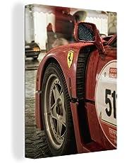 Canvas Schilderijen Ferrari - Race - Rood - 60x80 cm - Wanddecoratie - canvas met 2cm dik frame