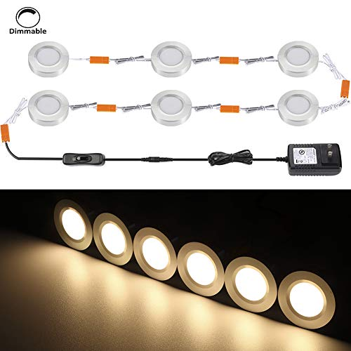 B-right Set of 6 Dimmable LED Puck Lights, Aluminum Under Cabinet Lighting, Total of 18W 1620lm DC12V 3000K Warm White, UL Power Adapter