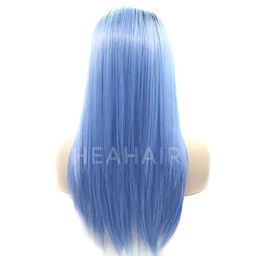 Heahair Ombre Dark Root Blue Violet Straight Handtied Synthetic Lace front Wig by Heahair (Image #5)