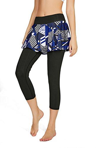 (Cityoung Women's Yoga Capris Tennis Skirt with Leggings Size Small (Printed Black-a) )