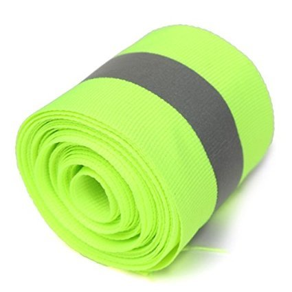 Actopus 10M(L) 5X1.5cm Reflective Tape Fabric for Safety Clothing Sew On Trim Lime Green ()