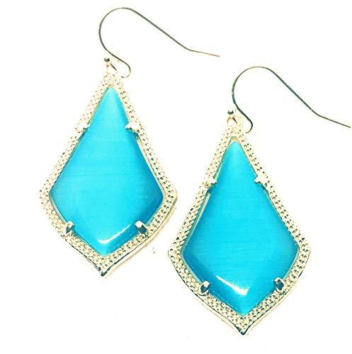 Inspired Fashion Jewelry New Cat Eye Earrings in Aqua Ocean Blue in Gold Tone
