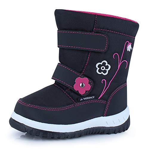 CIOR Winter Snow Boots for Boy and Girl Outdoor Waterproof with Fur Lined(Toddler/Little Kids) U118WXZ012,Black,24 (Boots Snow Toddler Girl)