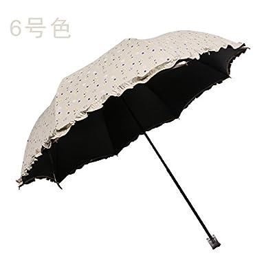 KHSKX-La Colle Deux Pliage Noir Uv Parasol Parasol Parapluie Champignon Floral Femelle
