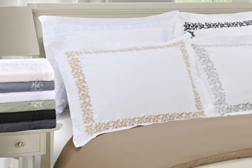 Super Soft Light Weight, 100% Brushed Microfiber, Wrinkle Resistant, Twin/Twin XL Duvet Cover, White with Grey Floral Lace Embroidery Pillowshams in Gift Box by Superior (Image #3)