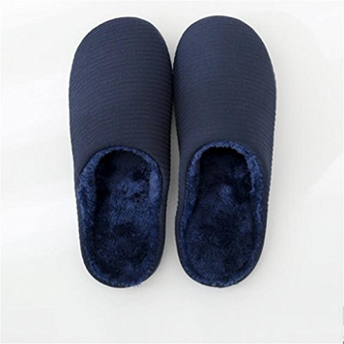 W&XY Men Winter Plush Slippers Slippers Indoor Anti-Slip Soft bottom Closed Toe dark blue shoes 41 lq4Nzm6d