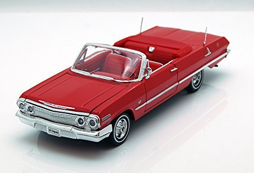 Welly 1963 Chevy Impala Convertible, Red 22434 - 1/24 Scale Diecast Model Toy Car, but NO Box