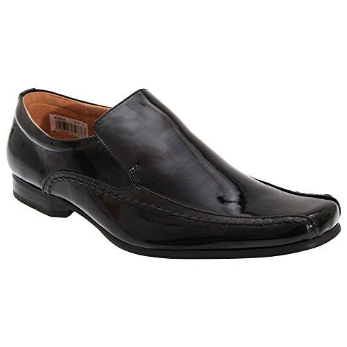 Goor - Zapatos sin cordones con cuarto interior de piel Modelo Tramline Hombre caballero - Trabajo / Boda Negro charol