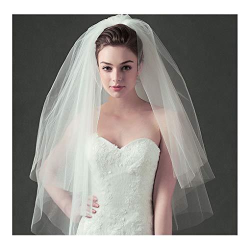 (Olbye Women's Wedding Veil Two Tier Fingertip Veil Raw Edge Veils for wedding Soft Tulle Bubble Veil (Ivory))