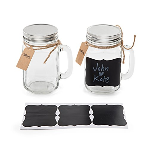 6 Pack - Vintage Mason Jar Mugs with Chalkboard Labels and Tin Lids, Mason Mugs with Handles for Weddings, Candle Jars, Party Favors, 16oz, by California Home Goods by California Home Goods (Image #2)