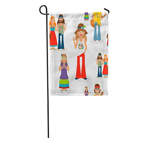 Nfuquyamluggage Garden Flag 1960S Happy Hippie People Adorable Barefoot Beard Cartoon Character Couple Home Yard House Decor Barnner Outdoor Stand 12x18 Inches Flag -