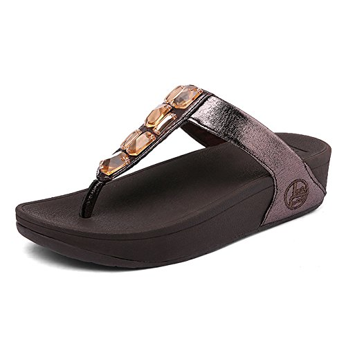 Summer Paillette Women's Thong Flip for Sandals Rhinestone Leather Women Wedge Toe Flops R436 SHAKE Brown Shoes wYqBa10x