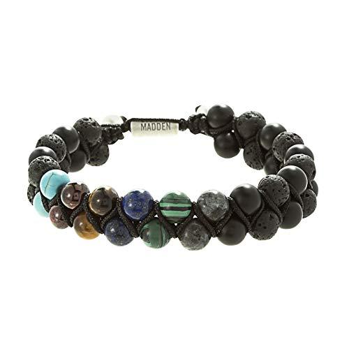 Steve Madden Men's Multi Color Stone Double Strand Adjustable Bracelet in Stainless Steel