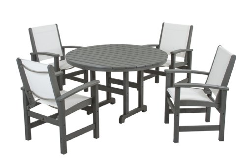 Cheap POLYWOOD PWS155-1-GY901 Coastal 5-Piece Dining Set, Slate Grey/White Sling