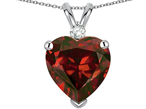 Star K Heart Shape 8mm Genuine Garnet Heart Pendant Necklace 10 kt White Gold ()