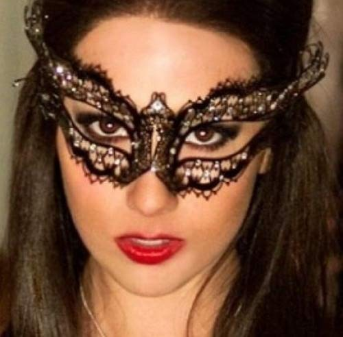 Deluxe Vampire Diaries Laser Cut Venetian Mardi Gras Masquerade Mask with Luxurious Gems - Prom, Parties, Ball, Celebration - Deluxe Venetian Mask