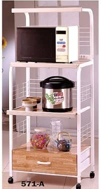 Amazon Com White Finish Kitchen Microwave Cart W Electric Socket Home Kitchen