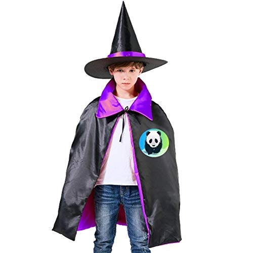 Kids Cloak Save The Panda Wizard Witch Cap Hat Cape All Saints' Day DIY Costume Dress-up For Halloween Party Boys Girls ()