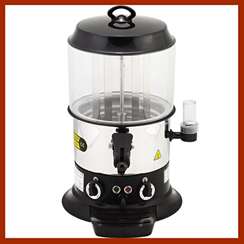 9 Liters / 19.84 lbs. Capacity Professional Commercial Hot Chocolate Beverage Maker Drinking Machine Electric Hot Chocolate Dispenser Shiny Silver and Black Color 220V
