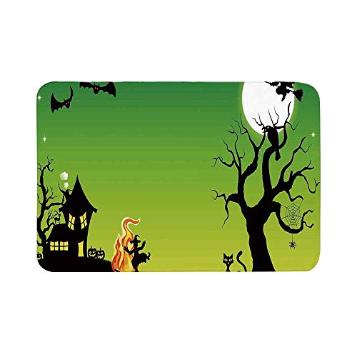 C COABALLA Halloween Decorations Durable Door Mat,Witch Dancing with Fire at Halloween Ancient Western Horror Image for Living Room,15.7