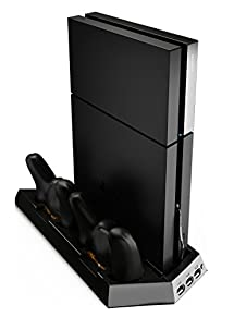 Ortz PS4 Vertical Stand with Cooling Fan [Dual Charger Ports] Premium Quality Controller Charging Station for PlayStation 4 Dualshock Charger [Not for Slim PS4]