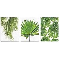 Vakiko 3 Pezzi Impostato Stampe su Tela di Foglie Verdi per Il Tuo Soggiorno Decorazione Moderna Murale Arte(Nessuna Cornice)