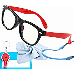 Kids Blue Light Glasses with Strap Computer and Gamer Eyewear Anti-Glare Protection Anti-Fatigue Anti UV Glasses for Smartphone Screens,Computer Or Tv Boys Girls Age 2-5