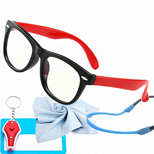 (Kids Blue Light Glasses with Strap Computer and Gamer Eyewear Anti-Glare Protection Anti-Fatigue Anti UV Glasses for Smartphone Screens,Computer Or Tv Boys Girls Age)