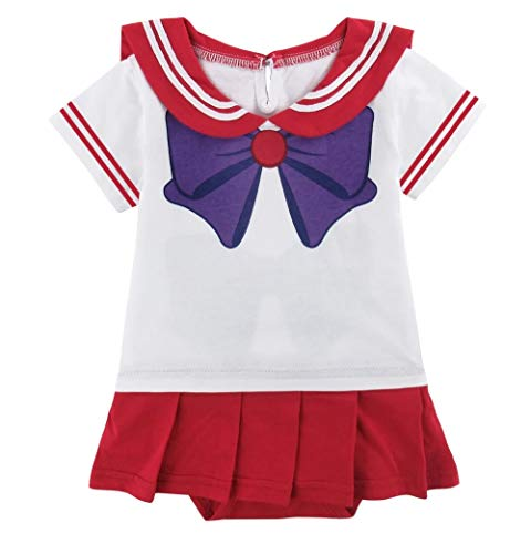 JarilnMo Sailor Moon Baby Girl Cosplay Onesie Dress Japanese Anime Babies 6M-24M (12M, red) -