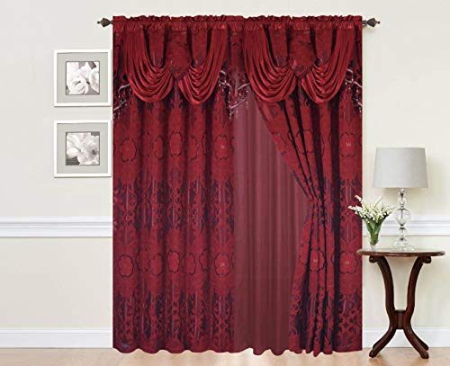 Attached Valance - Rod Pocket Window 84 Inch Length Curtain Drape Panels w/attached Valance & Sheer Backing + 2 Tassels - Traditional Floral Curtain Drape set for Living and dining rooms, Julia Burgundy Color