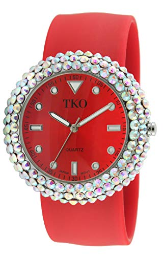 TKO Women's Crystal Slap Watch with Crystal Bezel & Colorful Silicone Rubber Wrist Strap ()